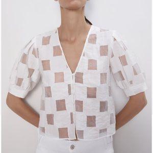 ZARA Plaid Organza White Checkered Button Down Top